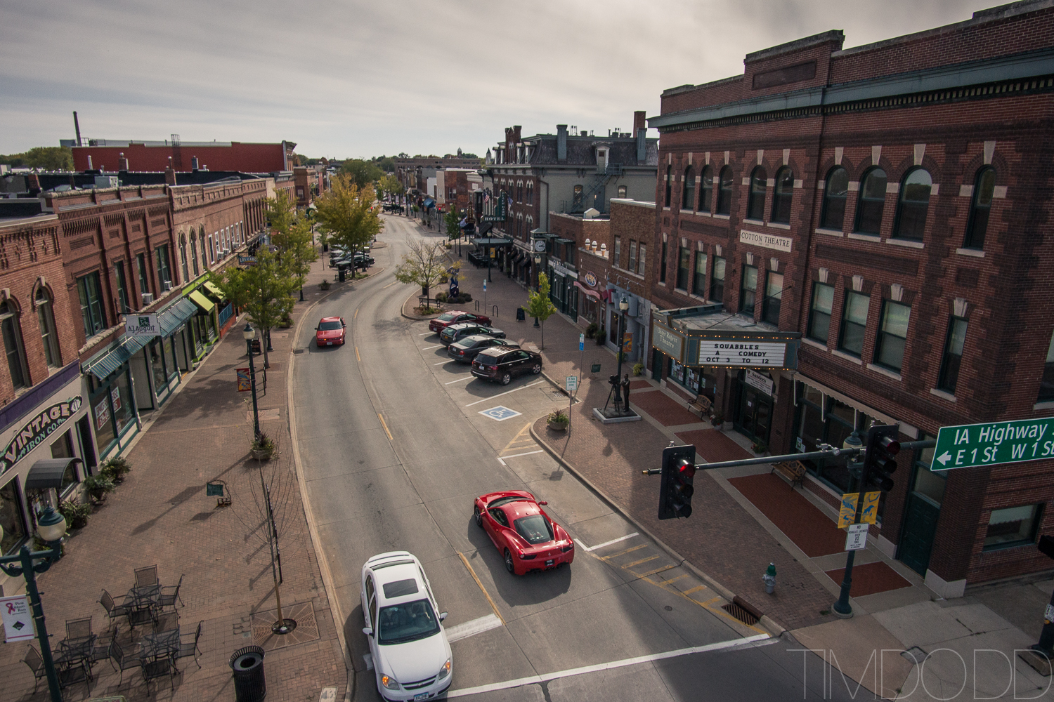 Downtown Cedar Falls Iowa aerial photography DJI Inspire 1 DNG edited Tim Dodd Photography raw picture EOS M Rokinon 12mm