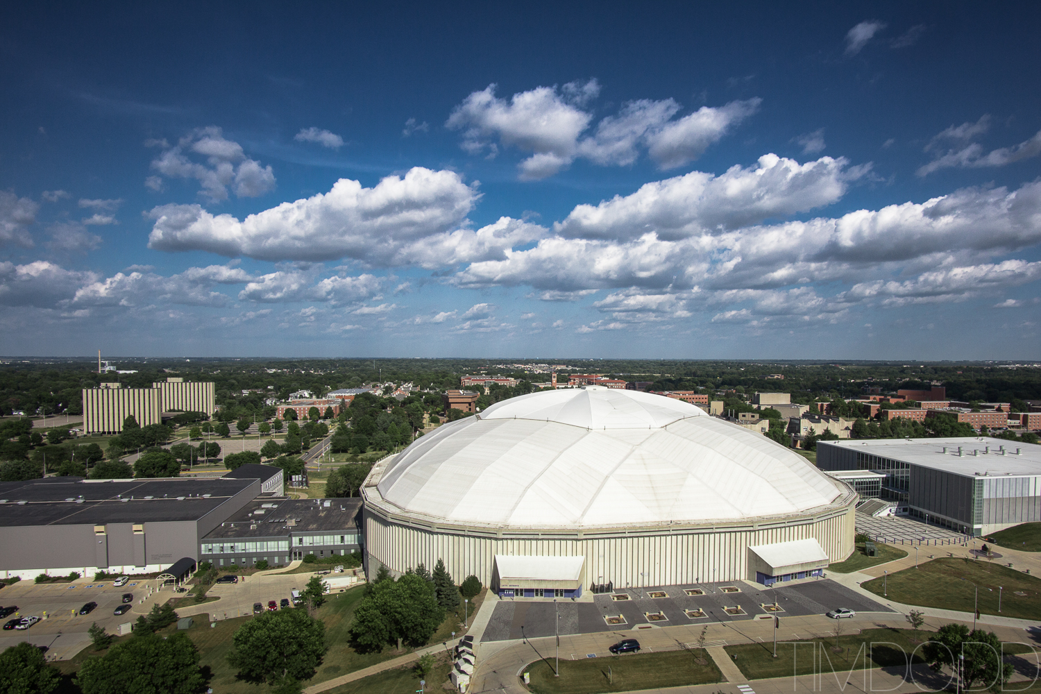 Downtown Cedar Falls Iowa aerial photography DJI Inspire 1 DNG edited Tim Dodd Photography raw picture UNI dome
