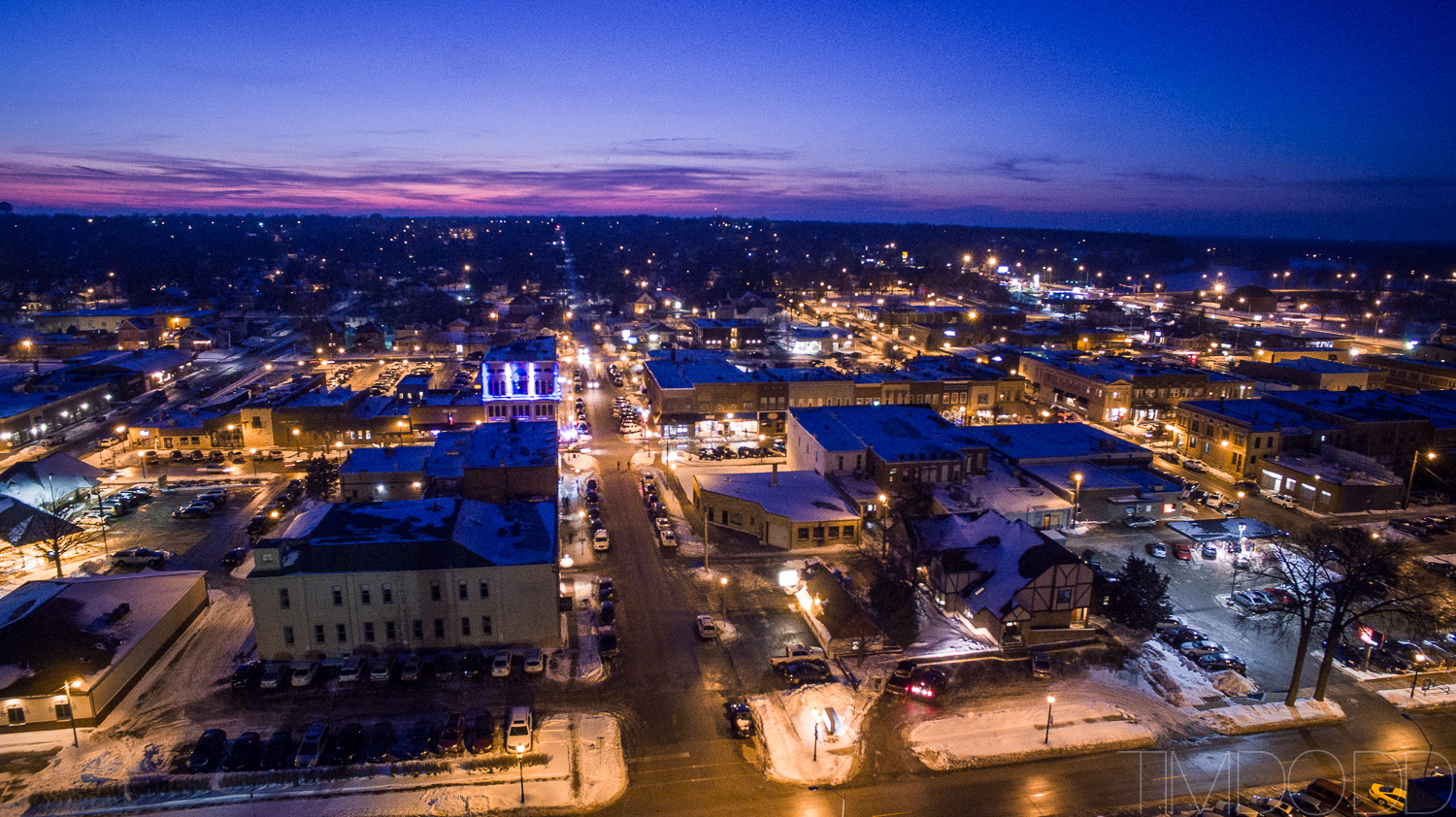 Downtown Cedar Falls Iowa aerial photography DJI Inspire 1 DNG edited Tim Dodd Photography raw picture