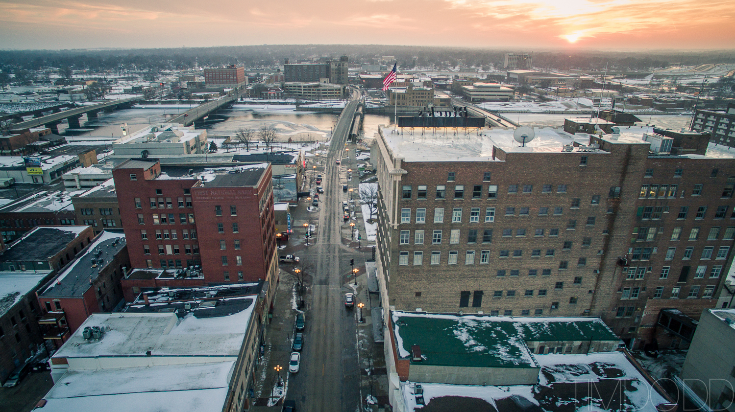 Downtown Waterloo Iowa aerial photography DJI Inspire 1 DNG edited Tim Dodd Photography raw picture