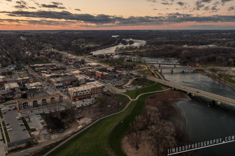 Cedar Falls downtown river place cedar river aerial drone photography sunset dusk Iowa Northeast Iowa professional