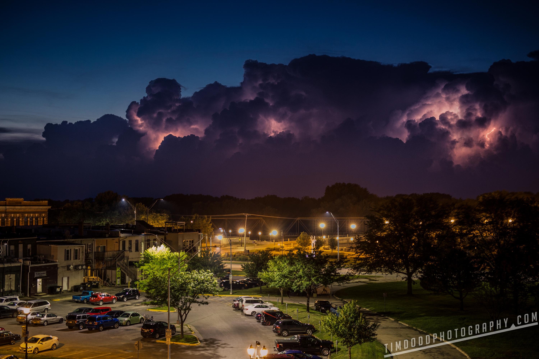 Cedar Falls Cedar River Iowa storm clouds midwest lightning downtown main street small town Tim Dodd Photography