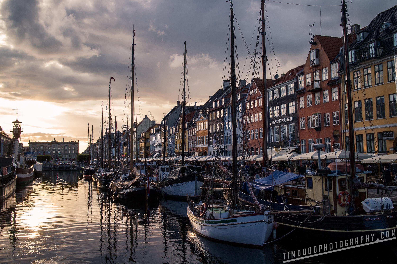 Nuhaven Copenhagen Dusk Sunset beautiful boats sails restaurants by Tim Dodd Photography Professional pro pics photos