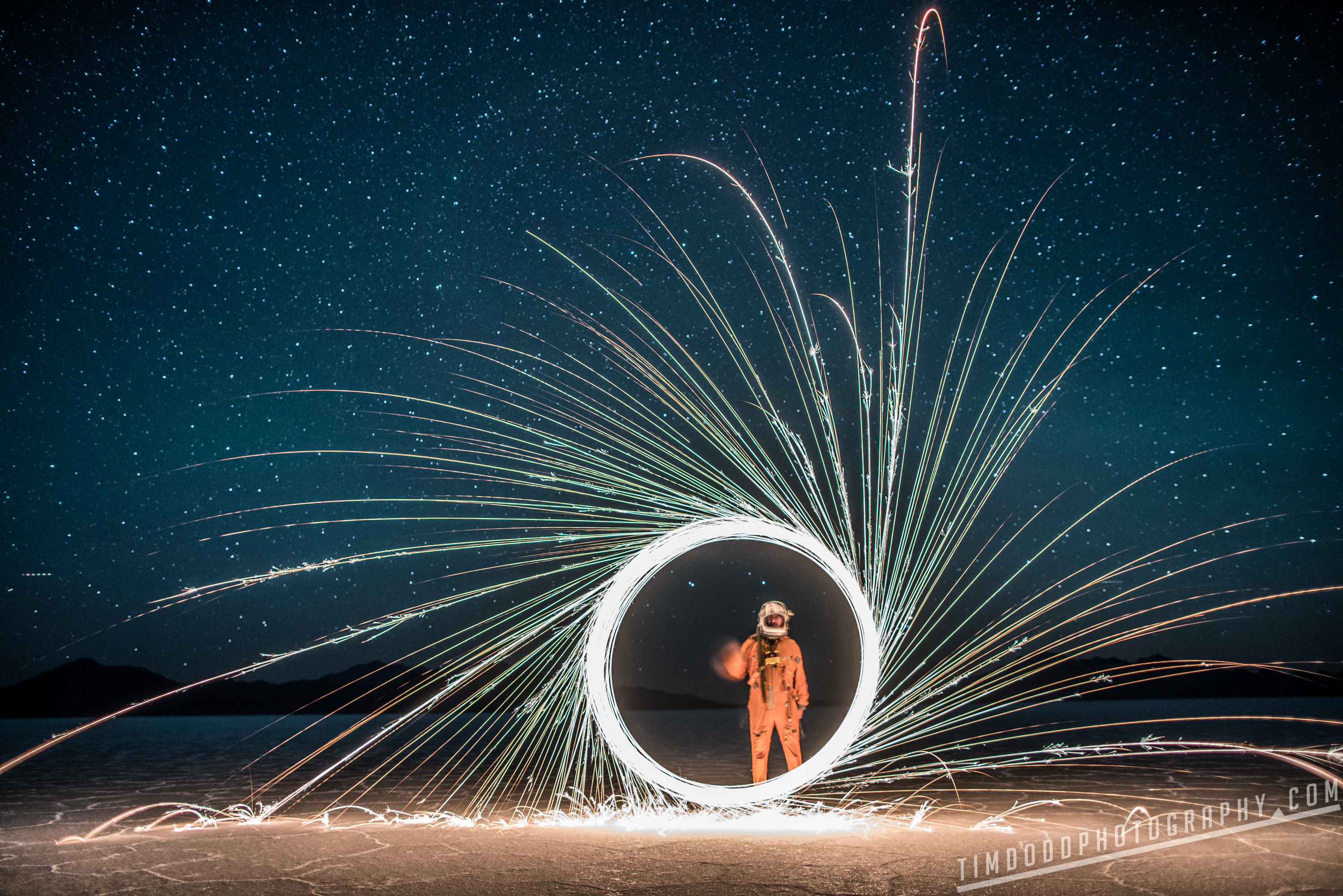 Bonneville salt flats everyday astronaut space suit russian reflection flooded utah instagram night stars milky way galaxy astrophotography long exposure