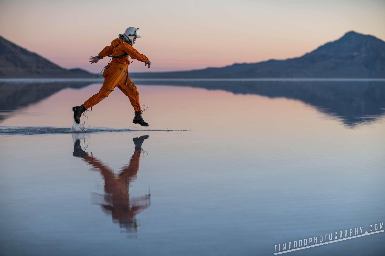 Bonneville salt flats everyday astronaut space suit russian reflection flooded utah instagram