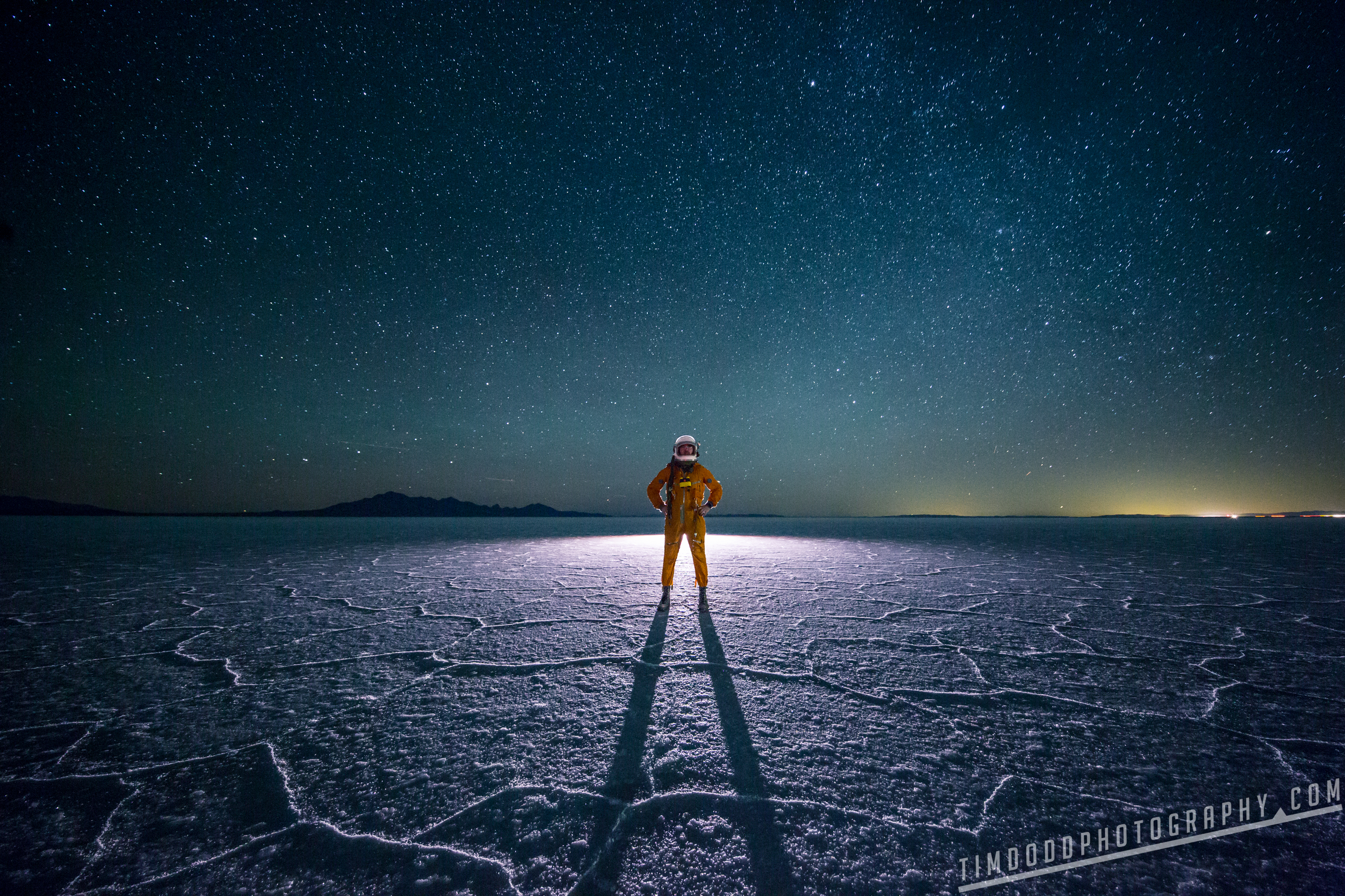 Bonneville salt flats everyday astronaut space suit russian reflection flooded utah instagram night stars milky way galaxy astrophotography