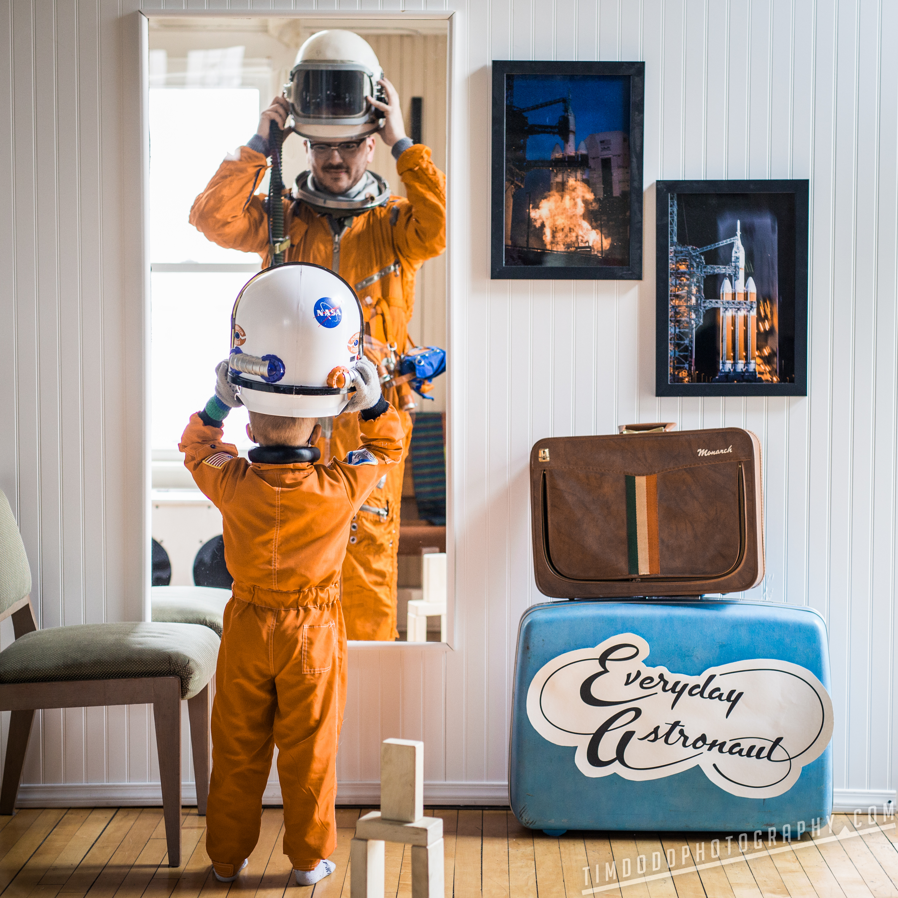 Everyday Astronaut mirror reflection I always knew what I wanted to be instagram inspiration by Tim Dodd Photography Everyday Astronaut Cosmonaut Space Suit little kid