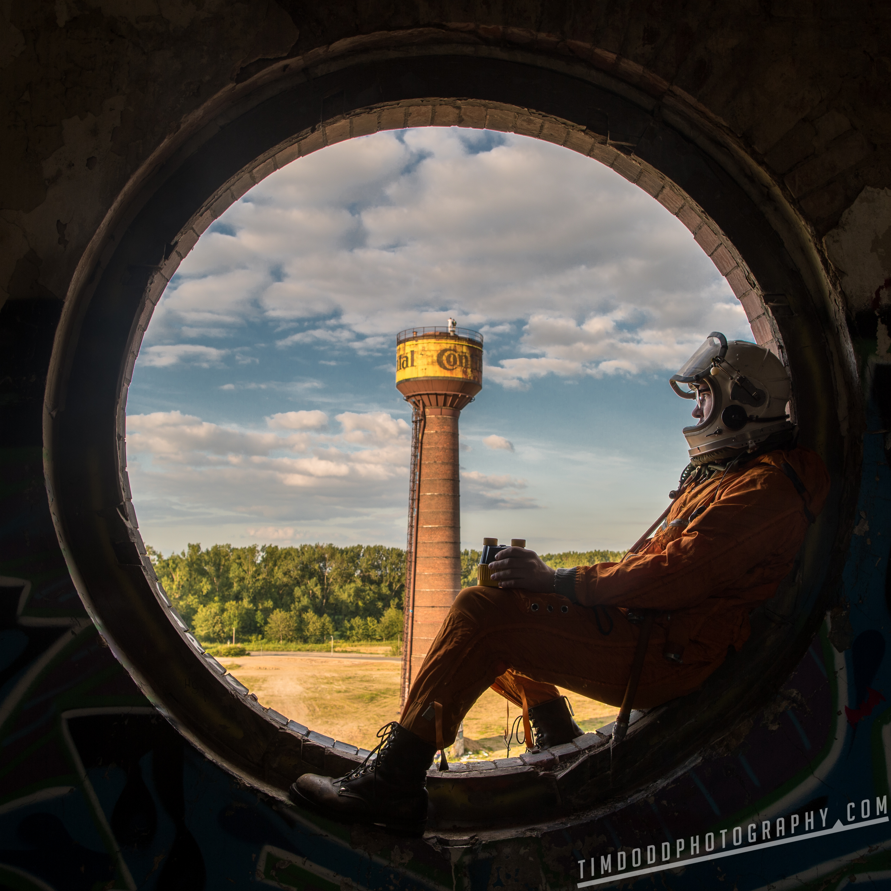 Hannover Hanover Conti Continental Tire abandoned Astronaut Space Suit Russian Cosmonaut window water tower Germany German abandoned by Tim Dodd Photography Everyday Astronaut
