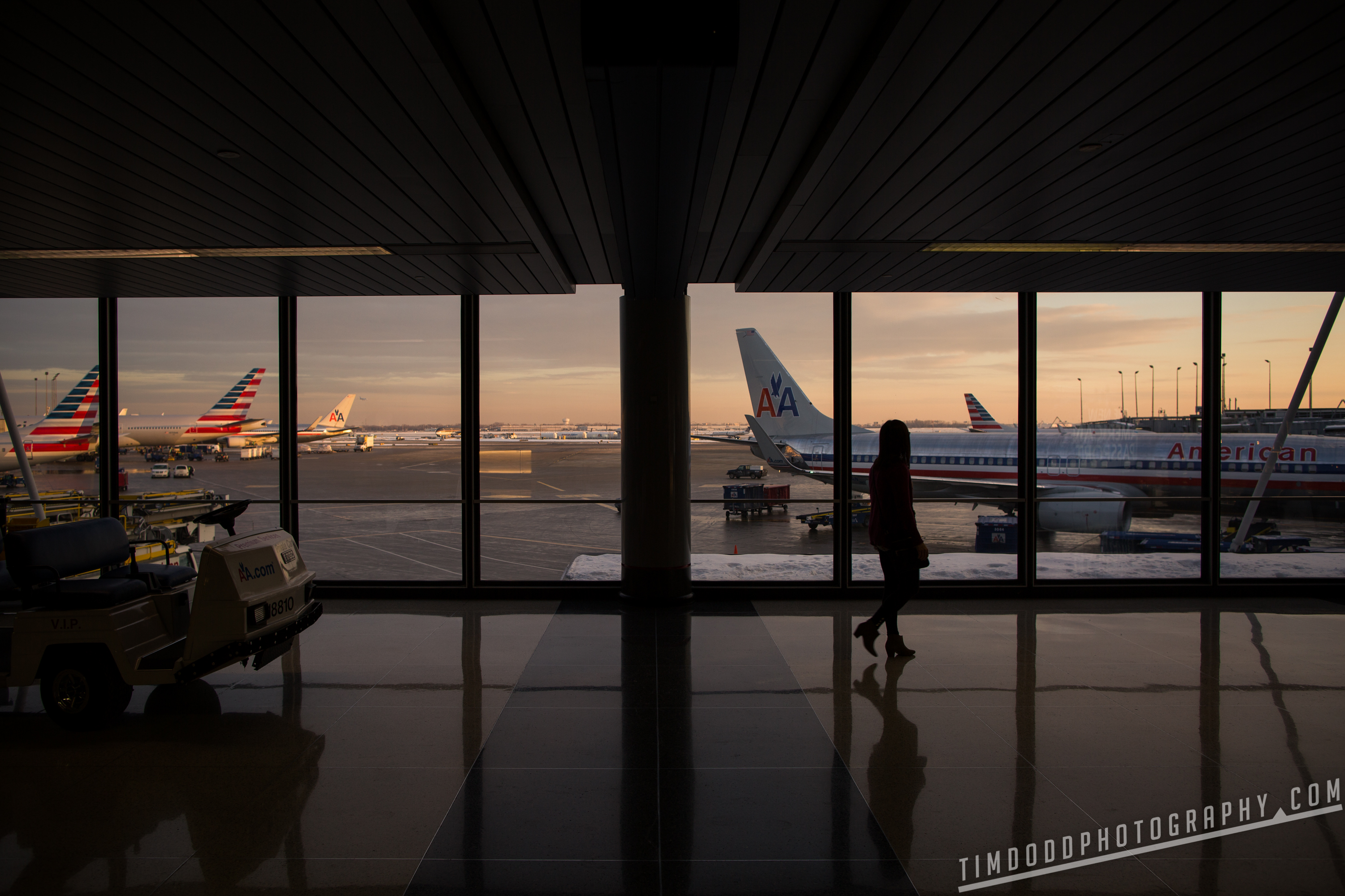 Chicago O'hare Ohare American Airlines Terminal girl silhouette sunset dusk beautiful Tim Dodd Photography professional