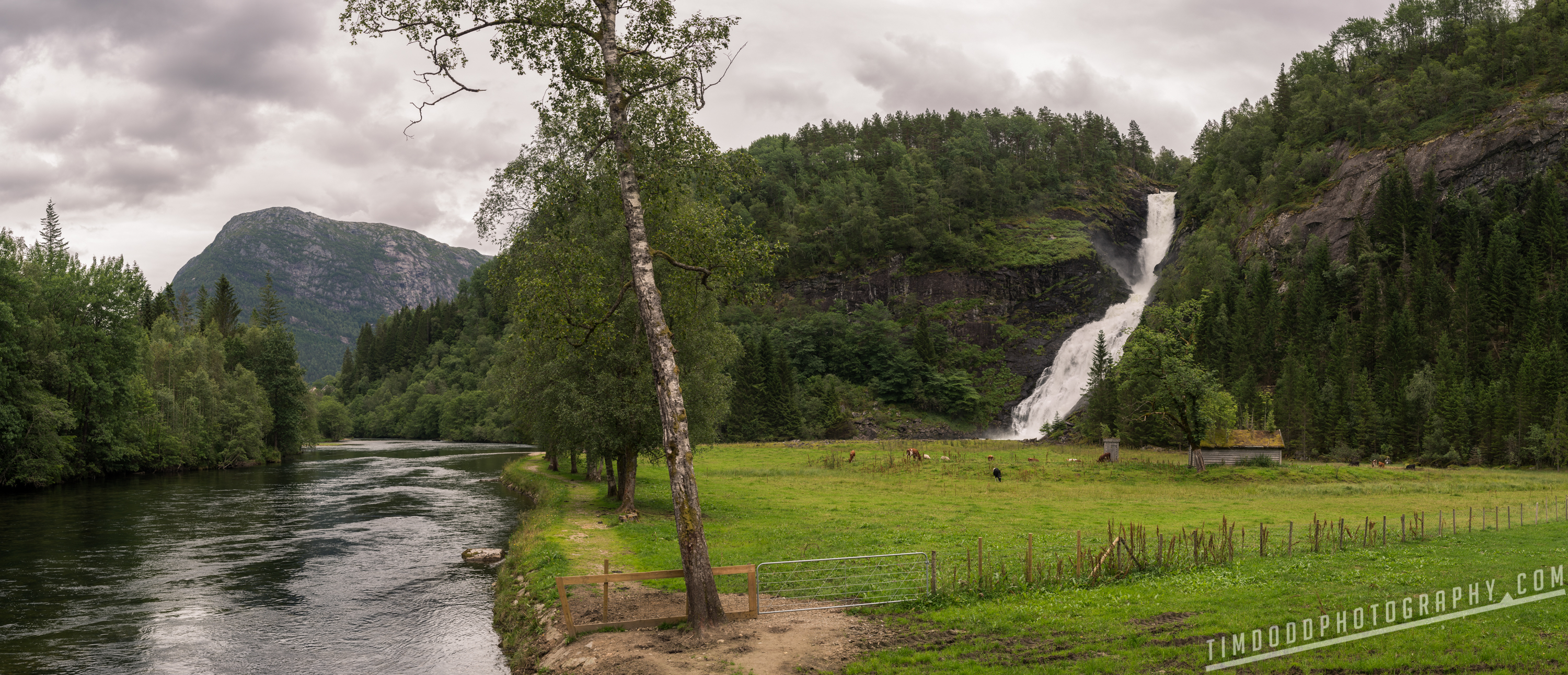 Huldefossen Forde Norway beautiful mountains by Tim Dodd Photography