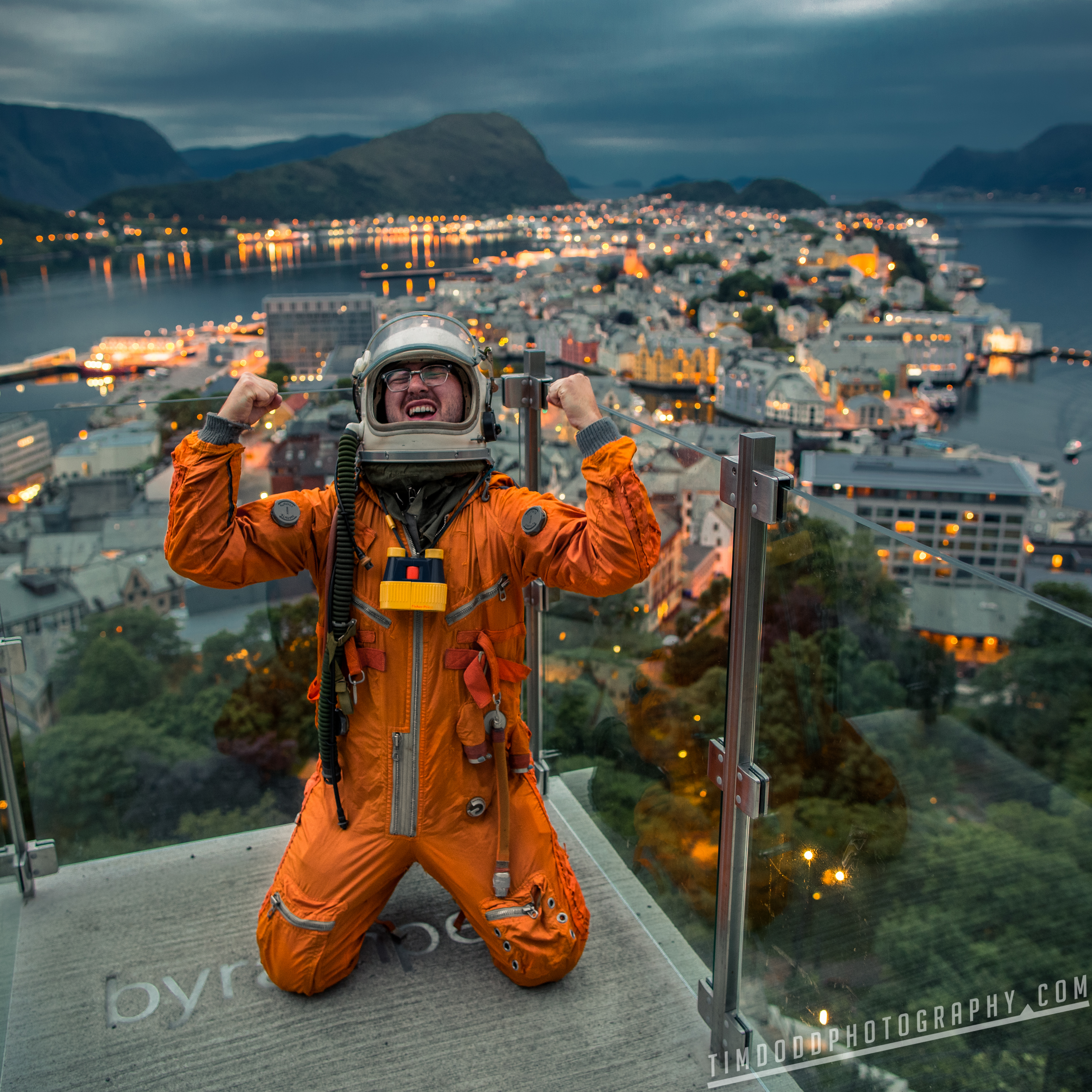 """Alesund Fjellstua Utsiktspunkt Astronaut Space Suit Norway mirror lake reflection boat beautiful mountains 60°47'31"""" N 6°34'28"""" E 1-1000 sec at f - 2.0 ISO 100 Canon EOS 5D Mark III Sigma 50mm F1.4 Art by Tim Dodd Photography"""