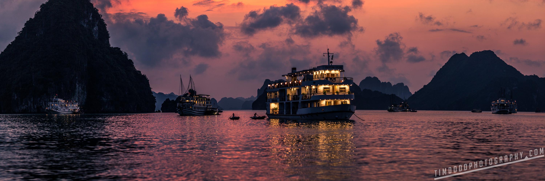 Vietnam Halong Ha Long bay beautiful bay water ocean travel tourism tips best boat ship cruise professional photographer traveler by Tim Dodd Photography international award winning night dusk sunset